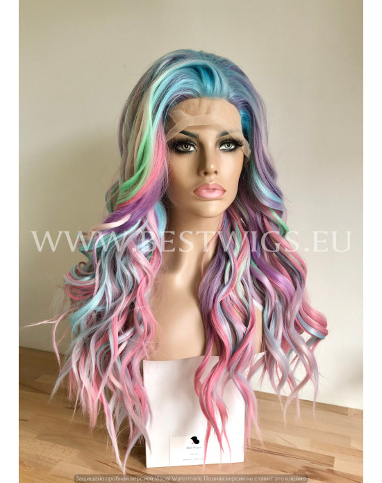 Synthetic lace front wig Wavy Mermaid mixed long hair