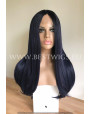 Synthetic lace front wig Stright Deep blue hair with middle parting