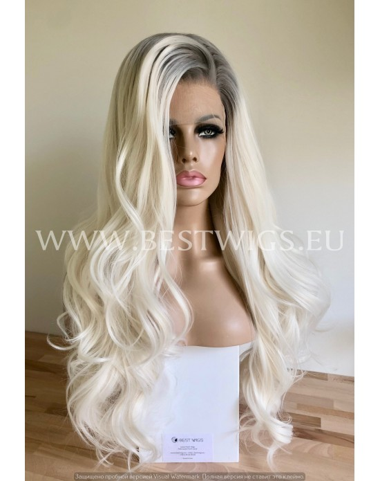 Synthetic lace front wig Wavy platinum blond hair / Grey roots
