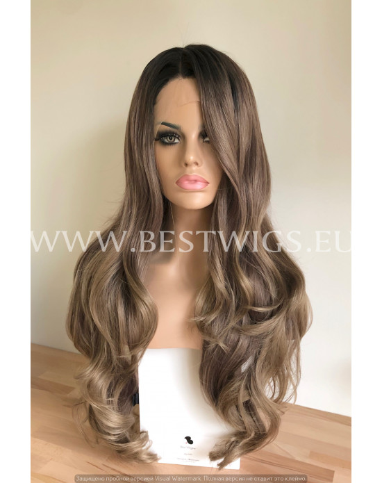 Synthetic lace front wig Wavy Rooted-toned-ashy