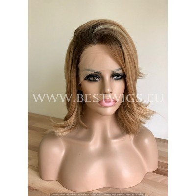Synthetic half-lace wig Stright blond hair with roots and flexible side part Frosty Touch