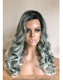 Synthetic lace front wig Wavy metalic green hair with side part