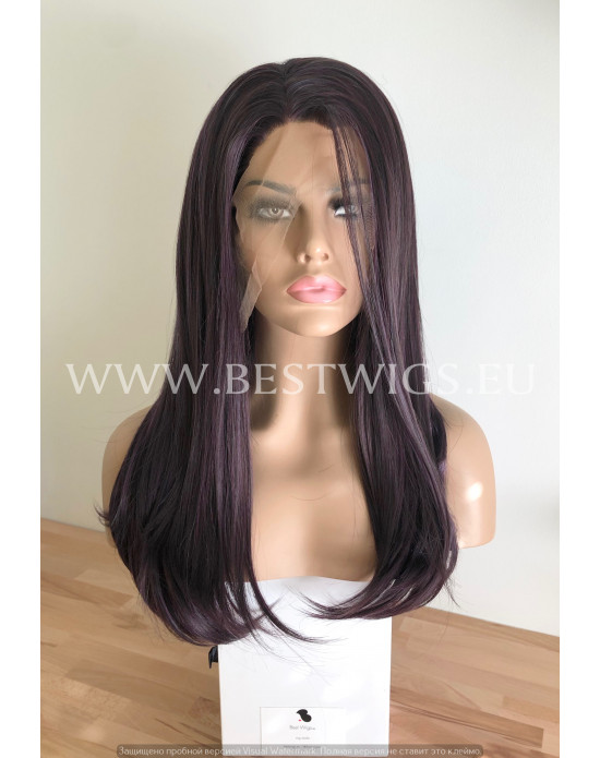 Synthetic lace front wig Stright Deep Violet long hair