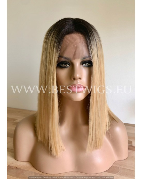 Synthetic lace front wig Stright rooted blond hair / Middle parting