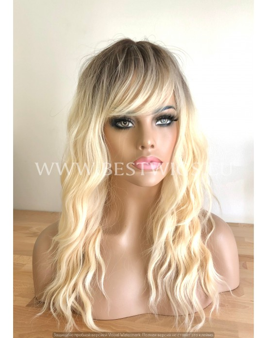 Synthetic Machine-made Medium Rooted Blonde Wig
