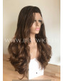 Synthetic lace front wig Wavy chestnut colored long hair