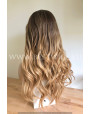 Synthetic lace front wig Wavy Rooted Blonde colored long hair
