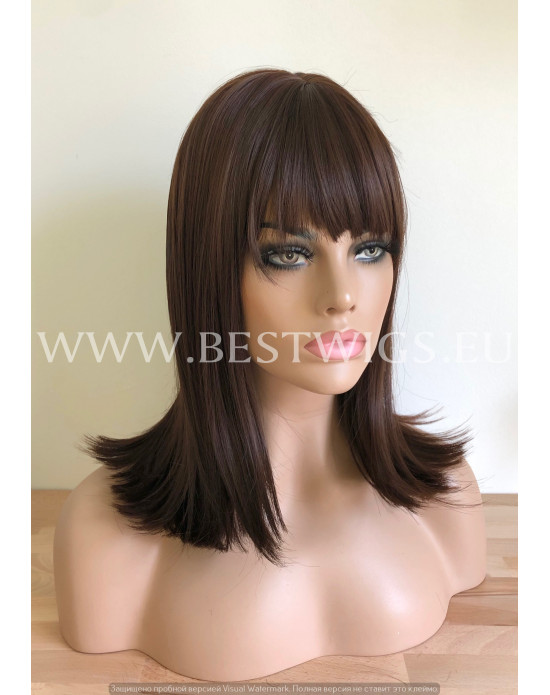 Synthetic wig Stright long hair with bang / Prune color
