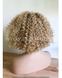 Synthetic lace front wig Curly rooted blond long hair