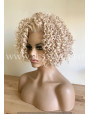 Synthetic lace front wig Curly pastel blond hair