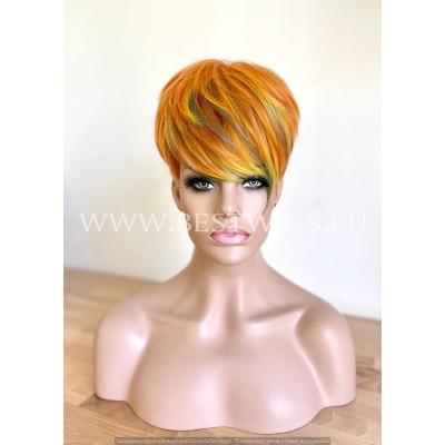 Synthetic Machine-Made Short Orange Blossom Wig