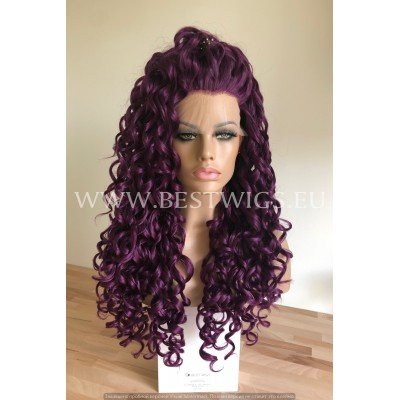 Synthetic lace front wig Curly Violet long hair
