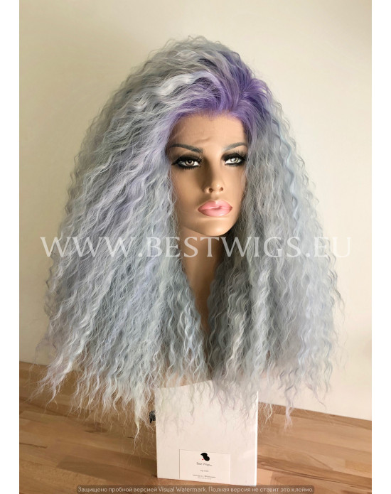 Synthetic lace front wig Curly Dusty sky hair EXTRA VOLUME / Lilas roots
