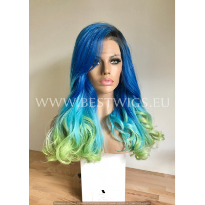 Synthetic lace front wig Wavy Blue Green long hair