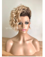 Synthetic lace front wig Curly Caramel Short hair dark roots