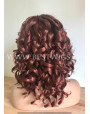 Synthetic lace front wig Curly red hair