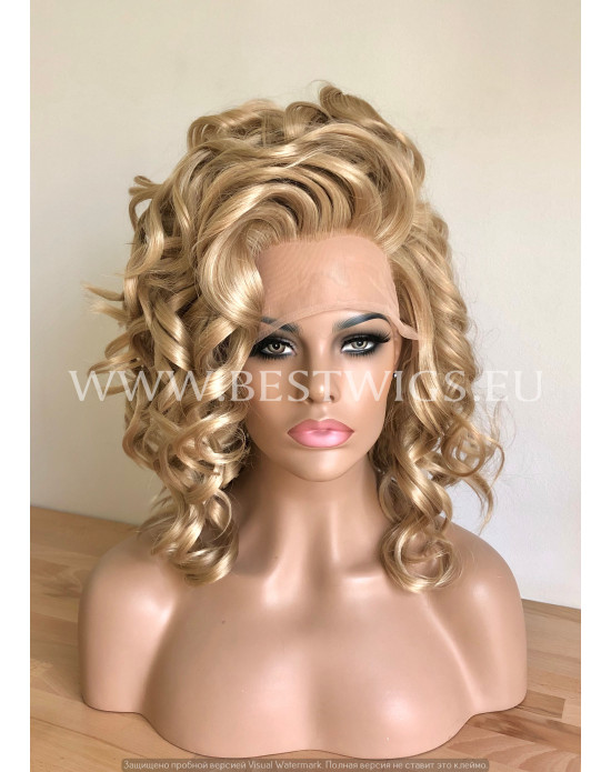 Synthetic lace front wig Curly blonde hair