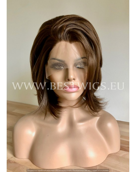 Synthetic lace front wig Straight light brown short hair