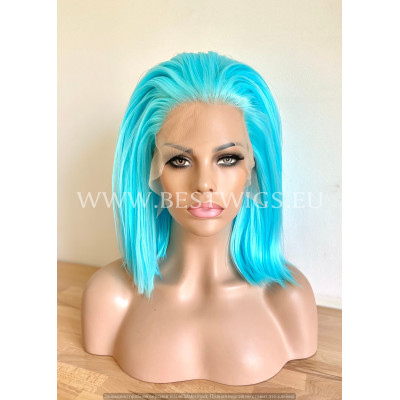 Turquoise Blue Straight Synthetic Lace Front Wig