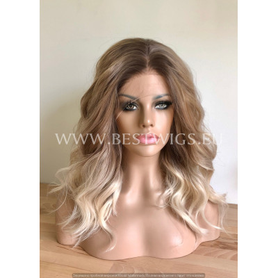 Synthetic lace front wig Wavy Coffee hair