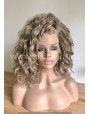 Synthetic lace front wig Wavy Ashen Blonde hair / Double volume