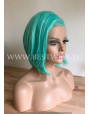 Synthetic lace front wig Straight Aqua Green short hair