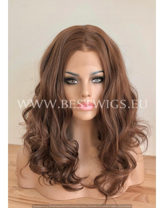 Chocolate Brown Synthetic Lace Front Wig Beach Waves
