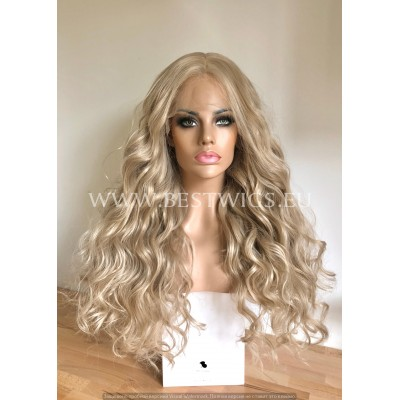 Brass Blonde Wavy Synthetic Half Lace Wig