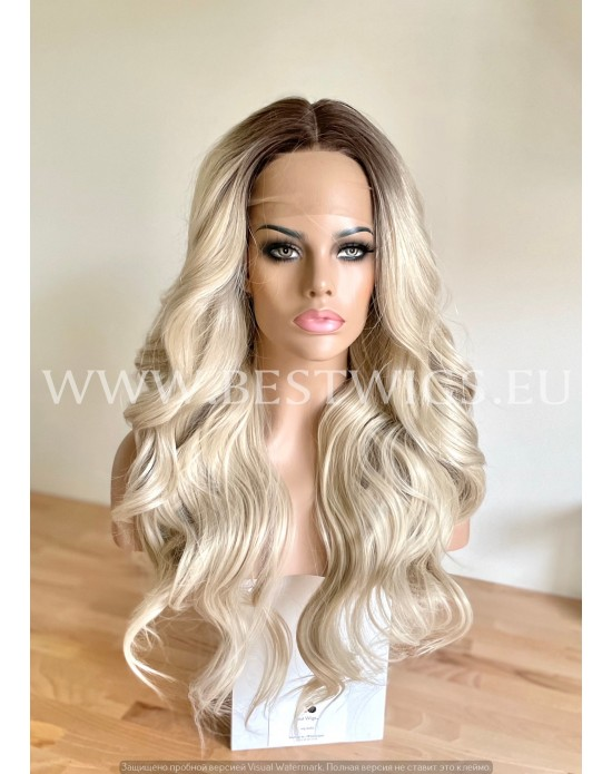 Rooted Pearl Synthetic Lace Front Wig Beach Waves