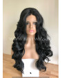 Synthetic lace front wig Wavy Black long hair / middle parting