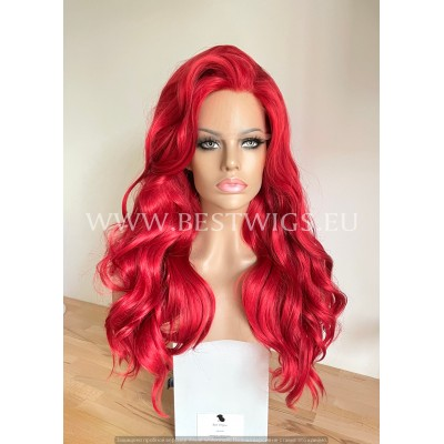 Bright Red Wavy Synthetic Lace Front Wig