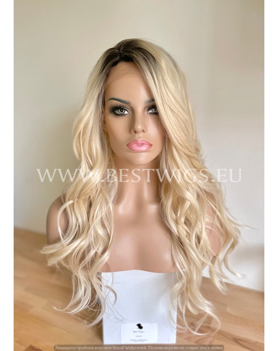 Rooted Glod Blonde Synthetic Lace Front Wig Beach Waves