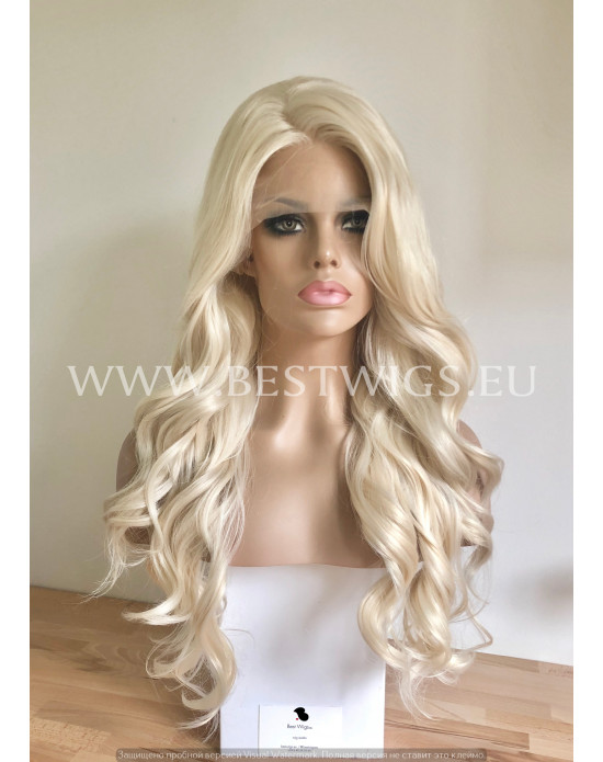 Synthetic lace front wig Wavy blond long hair / free parting