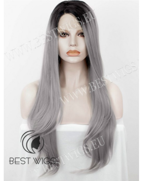 Synthetic half-lace wig Stright silver long hair dark roots (with side part)