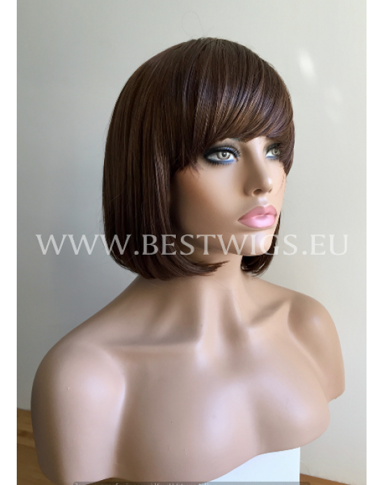 Synthetic machine made wig with bangs