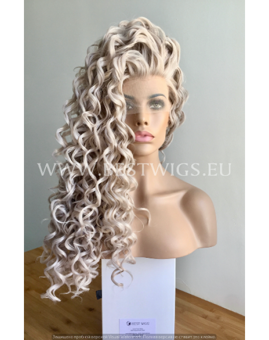 Synthetic lace front wig Curly grey long hair