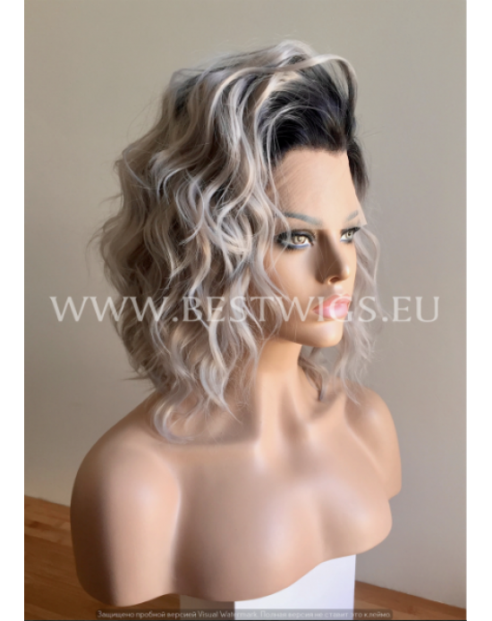 Synthetic lace front wig Wavy grey medium hair with dark roots