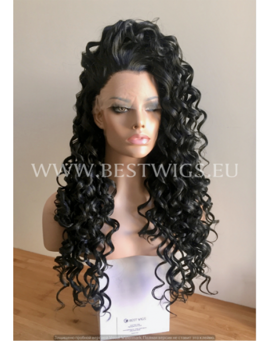 Synthetic lace front wig Curly brown mixed long hair - Cher style