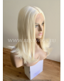Synthetic Half-lace wig Stright Platinum blond hair (with part side)