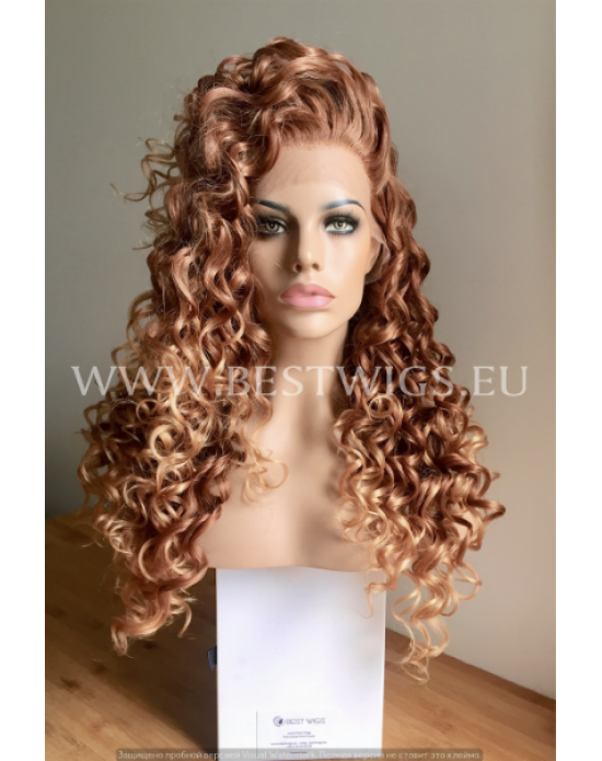Synthetic lace front wig Curly chestnut mixed long hair