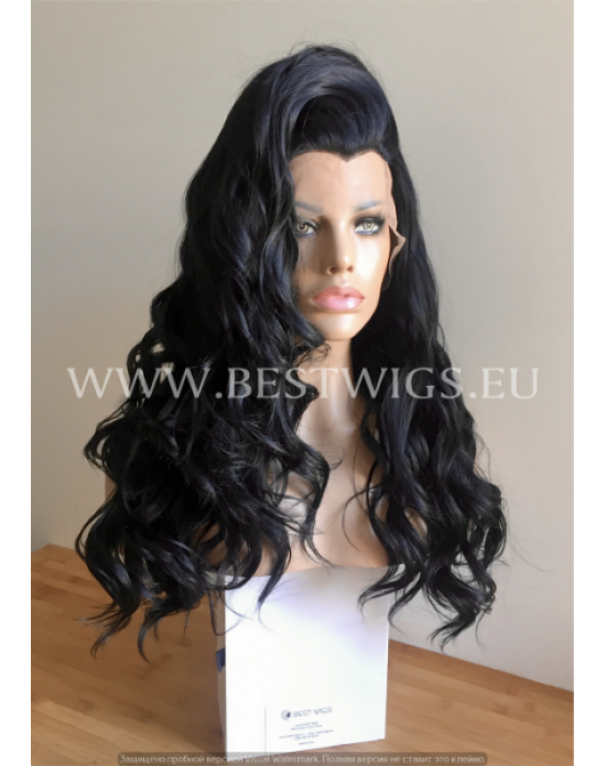 Synthetic lace front wig Wavy brown long hair