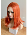 Synthetic Half-lace wig Stright Red hair (with part side)