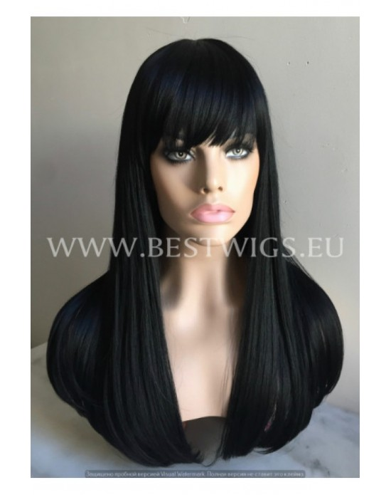 Synthetic wig Black long hair with bang