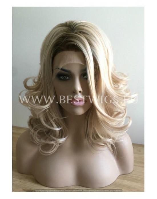 Double density lace front wig Wavy blond medium hair (dark roots) / Humain hair 40%