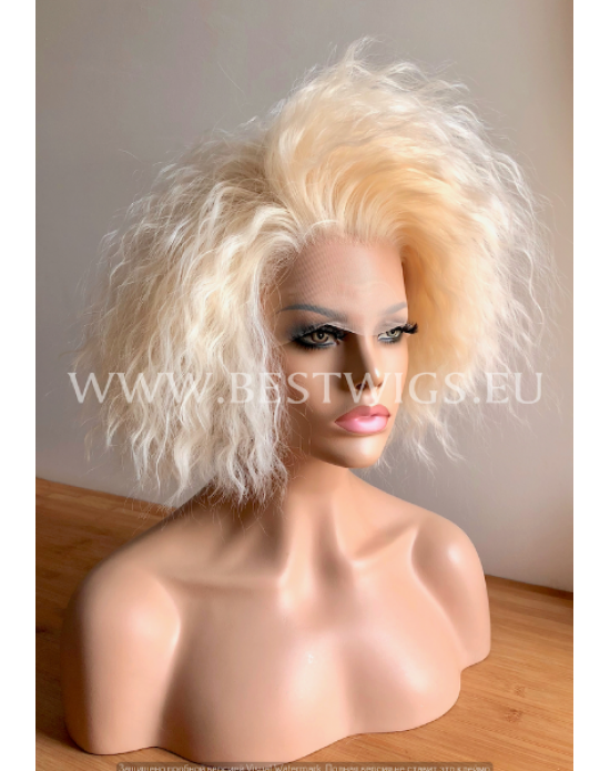 Synthetic lace front wig Curly short hair Platinum Blonde