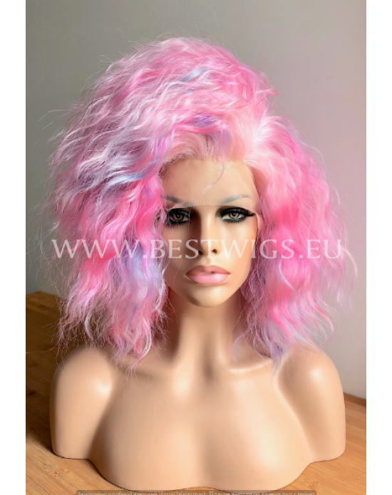 Synthetic lace front wig Curly Pure Pinky hair EXTRA VOLUME