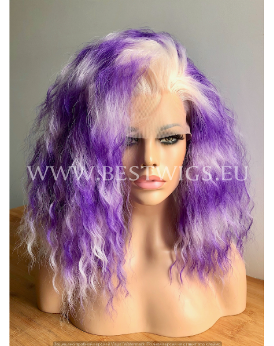 Synthetic lace front wig Curly Blonde Violet blended hair
