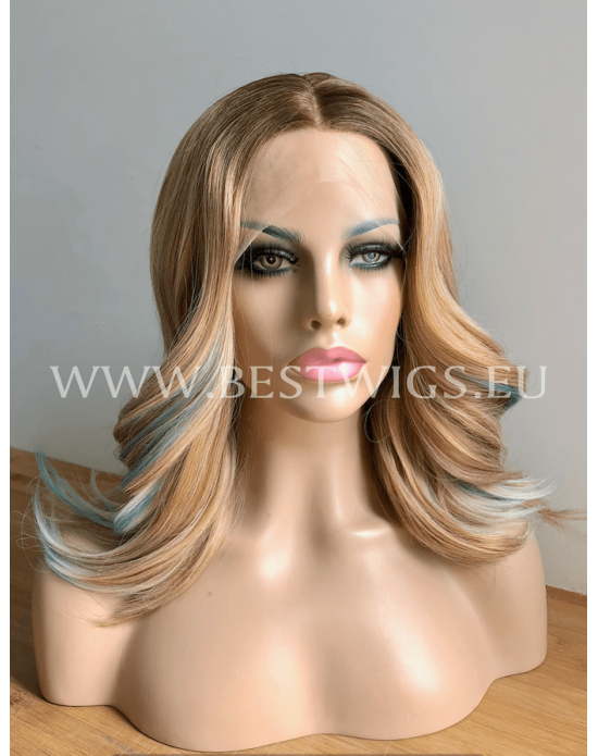 Synthetic half-lace wig Stright blond hair with roots and side part Frosty Touch