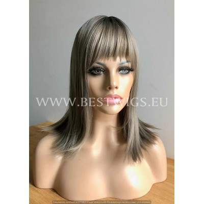 Synthetic Machine-made wig medium ash mix hair with roots