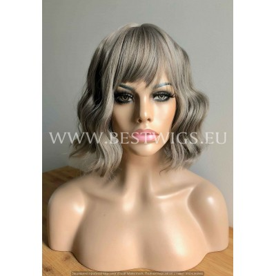 Synthetic Machine-made wig short ash mix hair